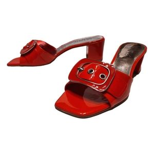 Red Patent Squared Toe Slides Low Block Heel Buckl